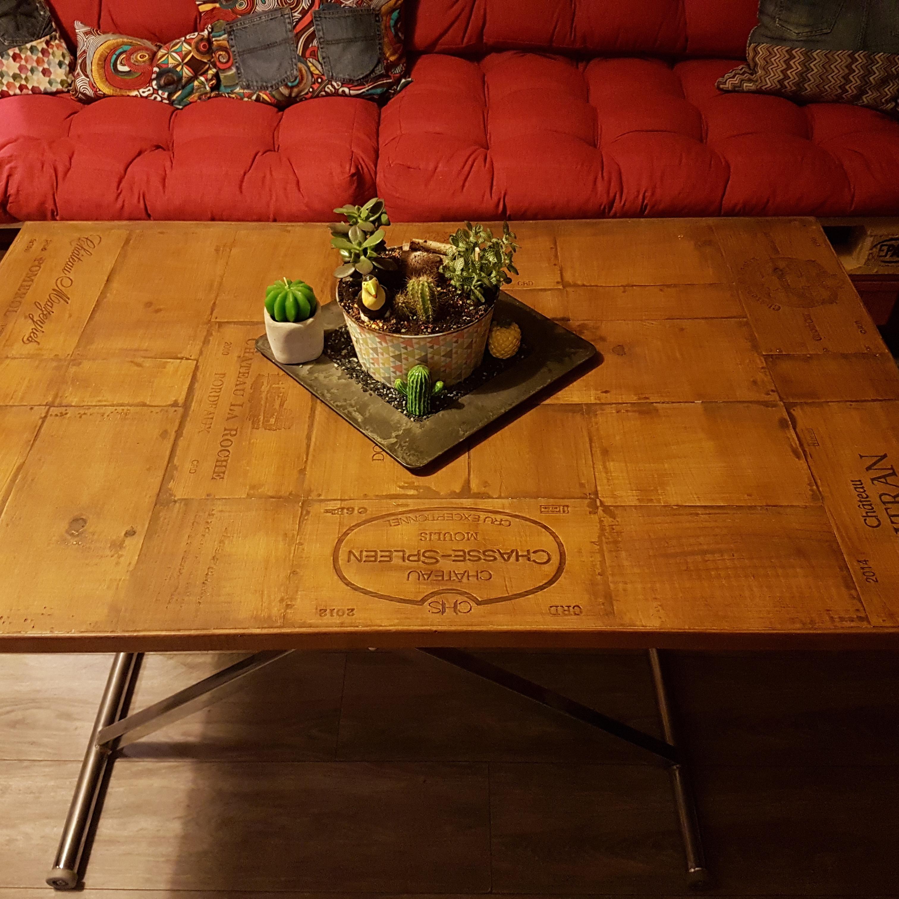 Plateau de table caisse à vin
