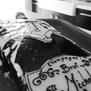 Gâteau d'anniversaire bouteille de champagne !!