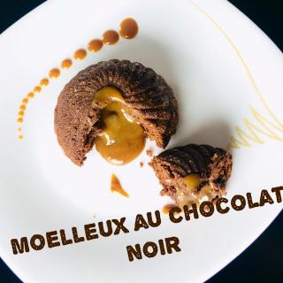 Moelleux au chocolat noir, coeur fondant au carambar et chocolat Dulcey
