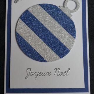 carte boule de noel en masking tape bleu et argent