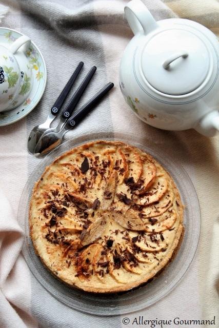 Tarte aux pommes et à la crème de pommes, bio {sans gluten, sans lait, sans oeufs}