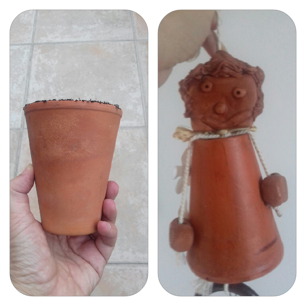 Petit pot de terre cuite marionnette avec Alban 4 ans