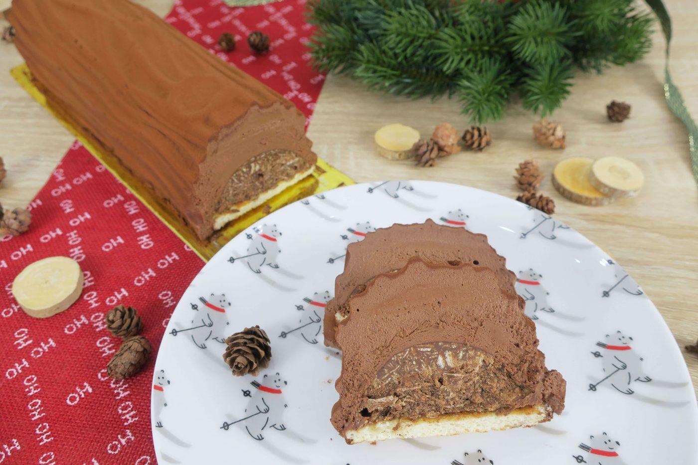Bûche au chocolat et praliné croustillant