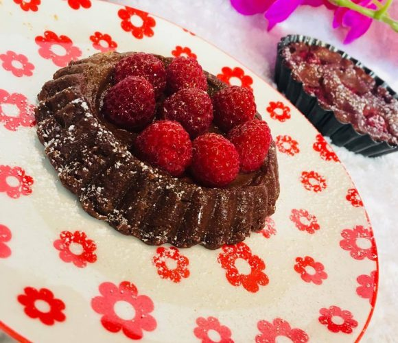 flan chocolat framboise sans pâte