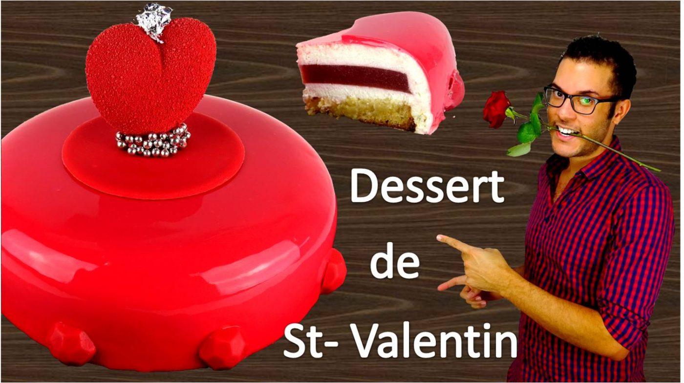 Entremet de Saint-Valentin, Amande, Fraise, Fleur d'oranger