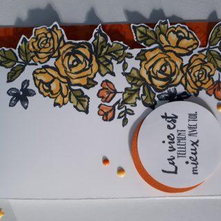 Carte à liseré de roses