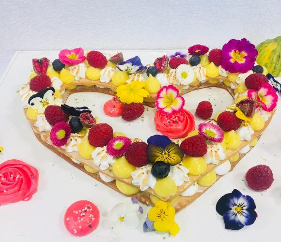 Heart cake citron meringuée
