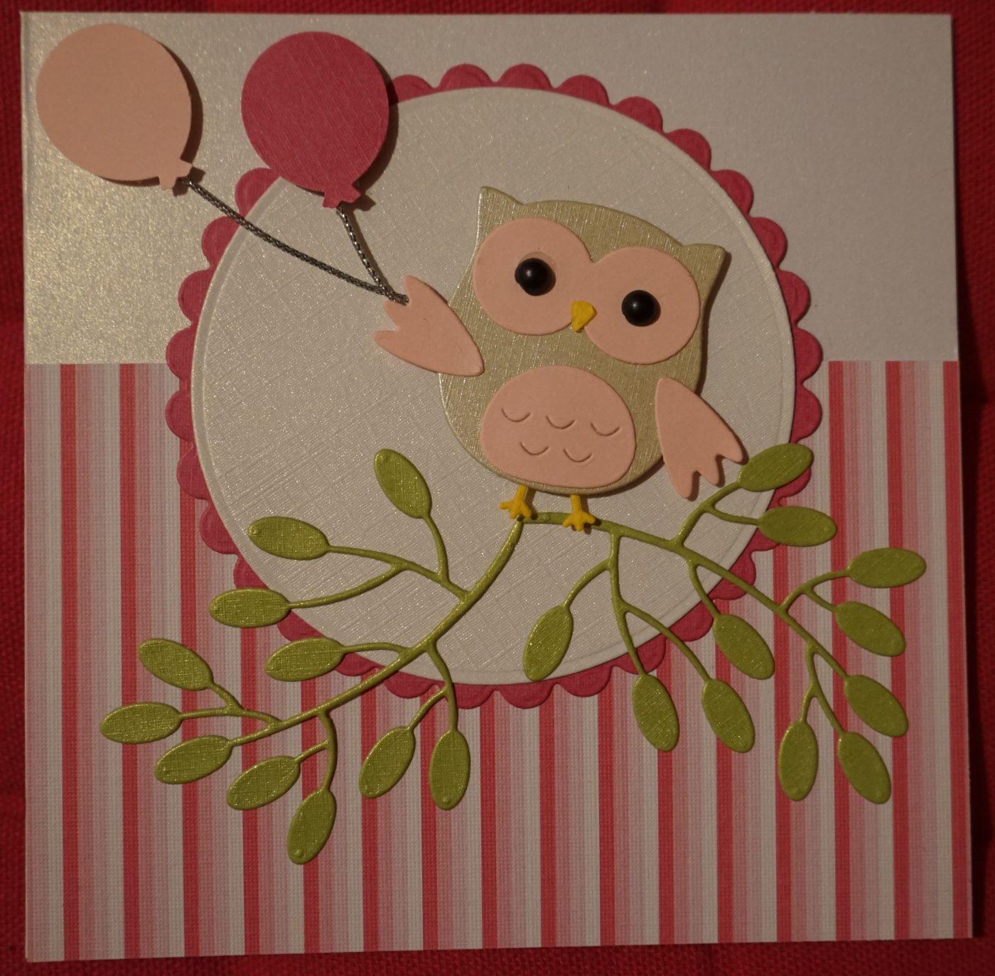 Carte anniversaire rose hibou