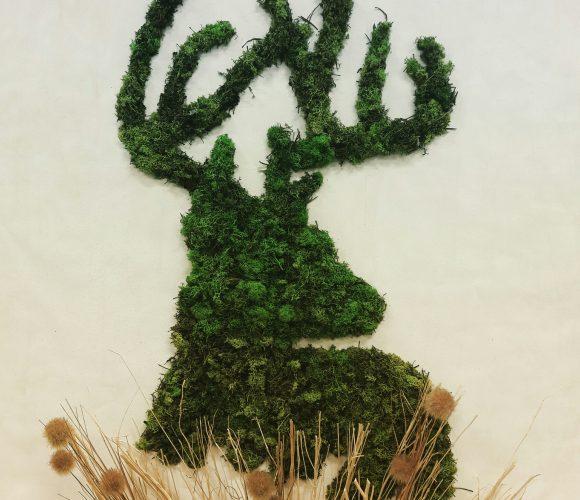 Tableau cerf en mousse végétale