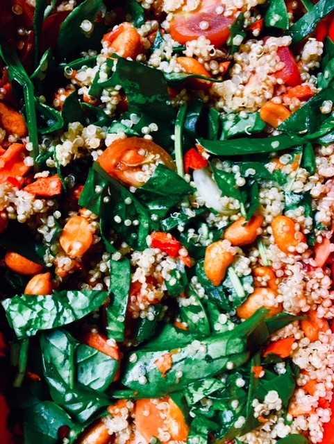 Mon Taboulé quinoa, pousses d'epinards