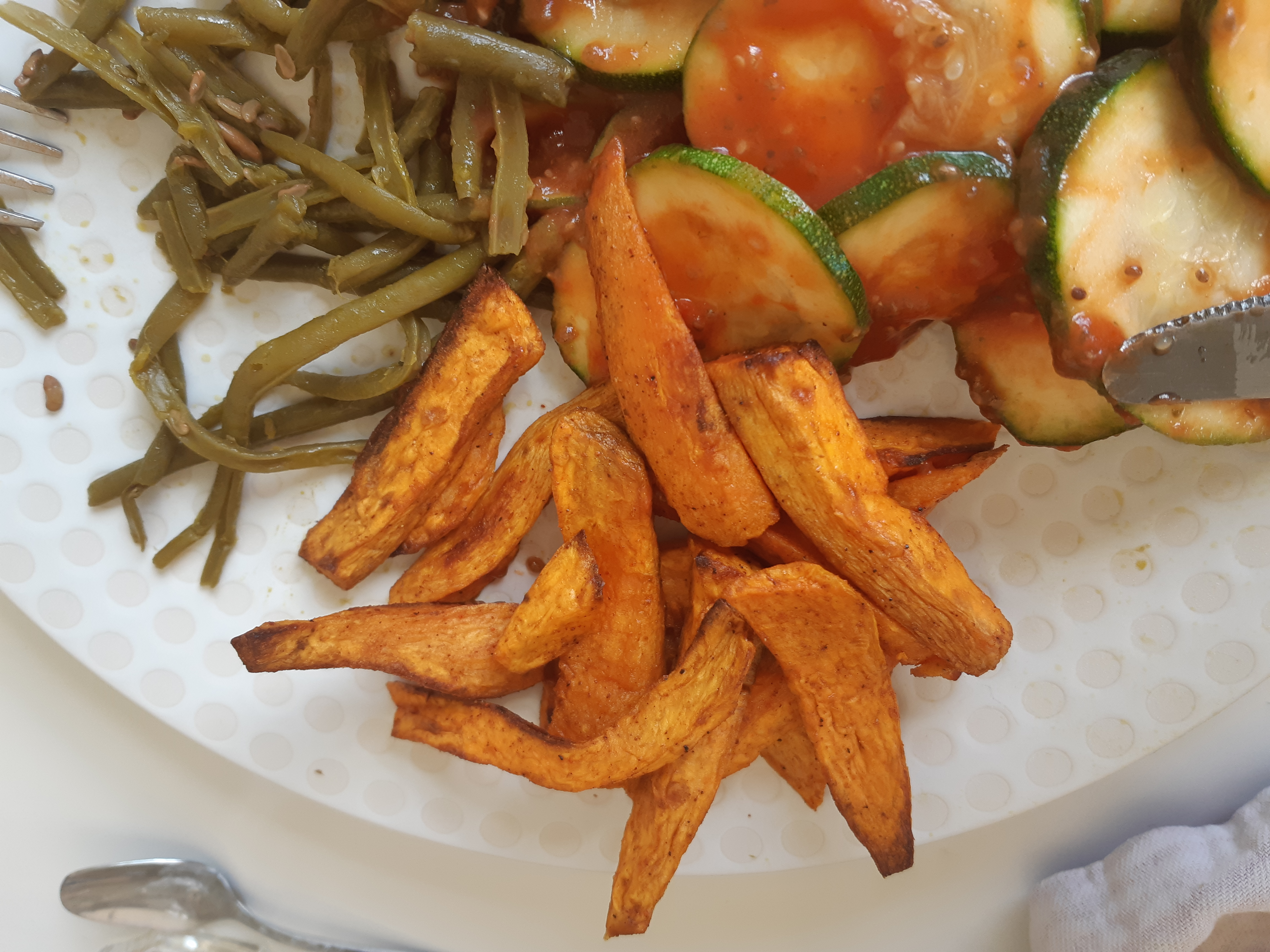 Patates douces rôties au four avec l'huile infusée à l'ail la tourangelle