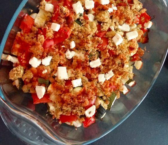 Tomates et courgettes en crumble de pois chiche  !