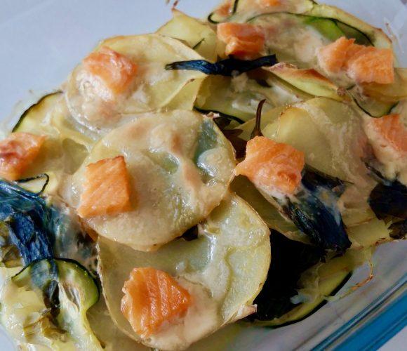 Mon gratin pommes de terre, courgette, céleri, saumon