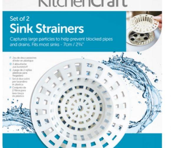 J'ai choisi le set de 2 tamis d'évier en plastique blanc «Kitchen Craft»
