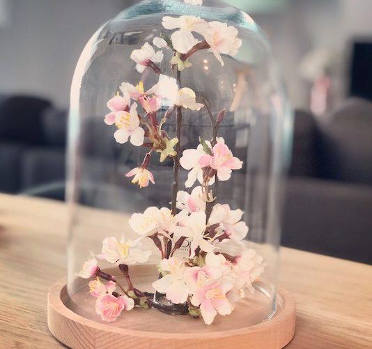 Mon décor floral sous cloche de verre !