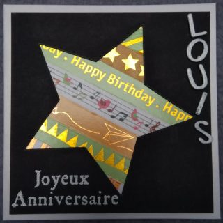 Une carte étoile pour un anniversaire garçon