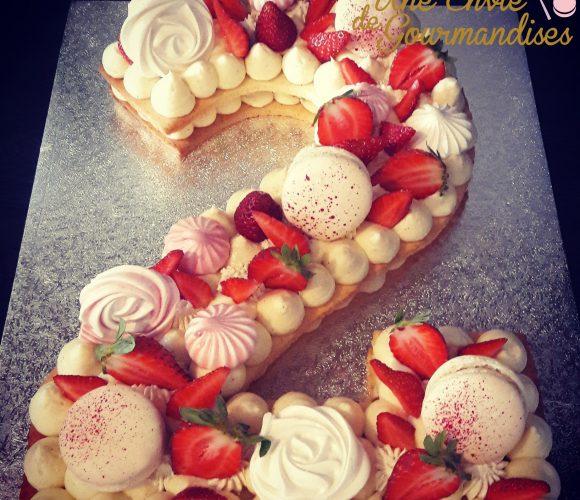 Number cake façon fraisier