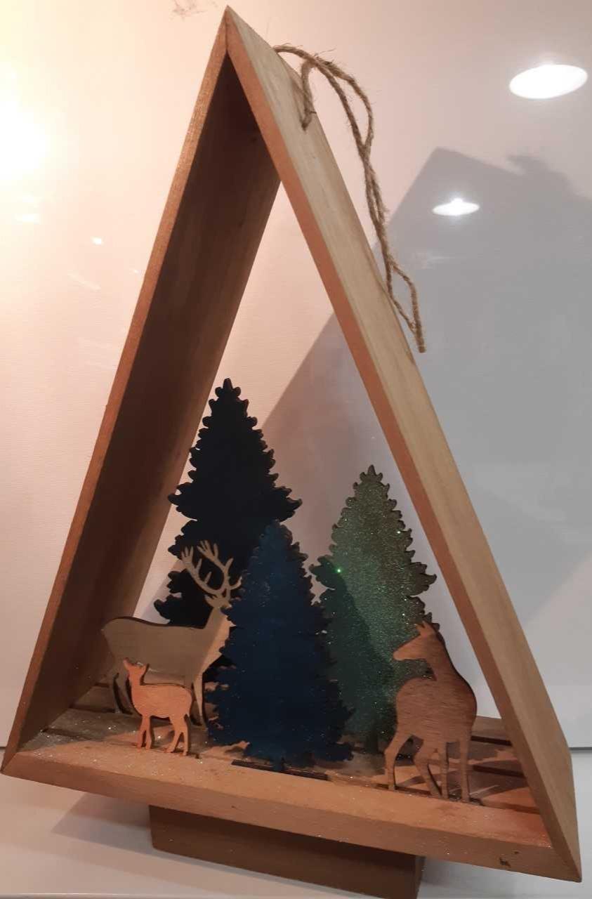 Décoration sapin forêt en 3D