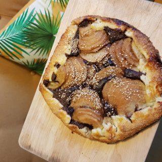 Ma recette de tarte rustique poire-amande-chocolat réalisée lors du Blog Z day du 13 octobre 2018