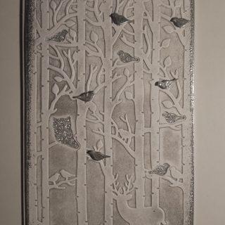 carte de Noel noir et blanc paysage de forêt : embossage à froid et à chaud