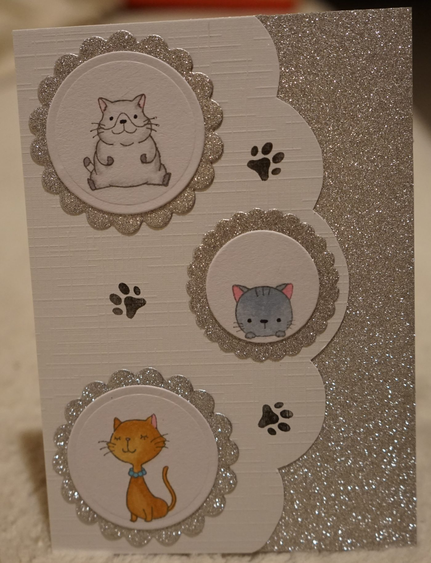 Carte de fin d'année blanc-argent-chats
