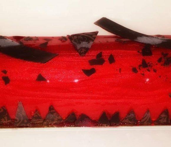 Bûche rouge rubis «La précieuse»