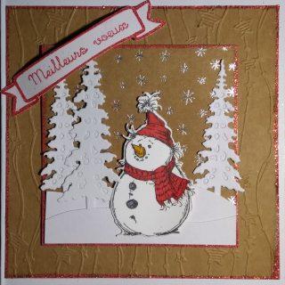 Carte bonhomme de neige brun rouge