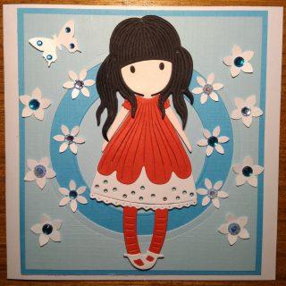 Carte anniversaire fille bleu et rouge