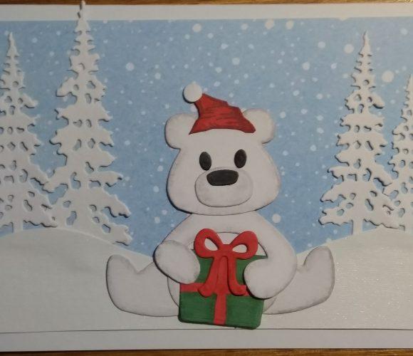 Carte Noel ours blanc au cadeau
