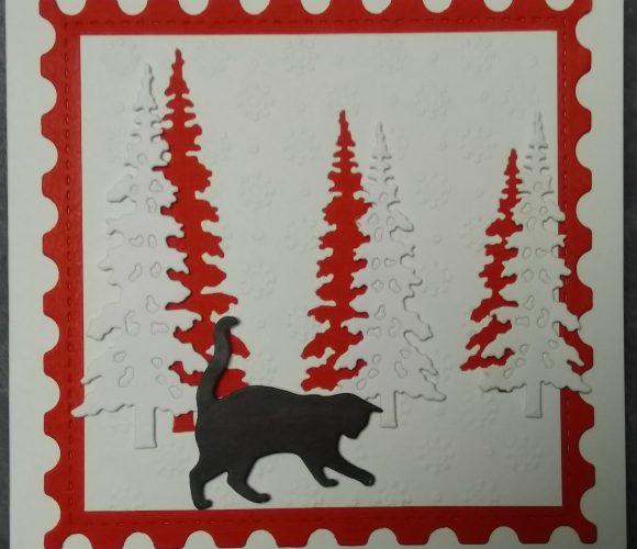 Carte de noël timbre et sapin tons rouge et blanc