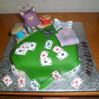 Gâteau jeu de cartes et couture!