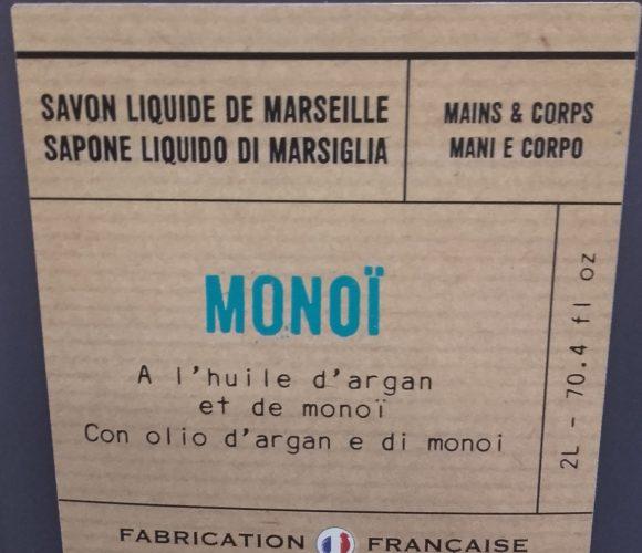 J'ai testé pour vous savon liquide Monoi à l'huile d'argan  2l