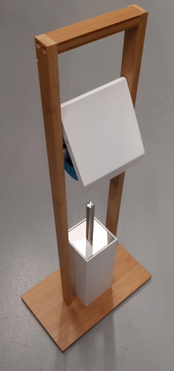 Valet wc avec dérouleur pour papier toilette et balai blanc et bambou