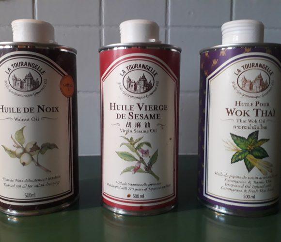 LA TOURANGELLE – Huile de noix  –  vierge de sésame – wok thaï