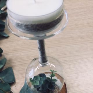 Mon bougeoir végétal verre renversé !