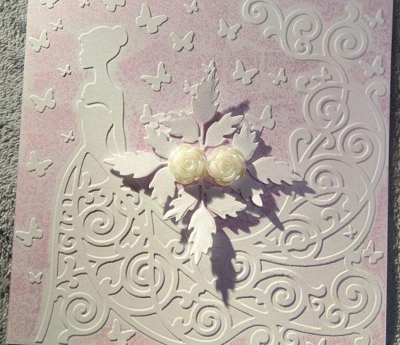 Carte mariage : mariée et son bouquet