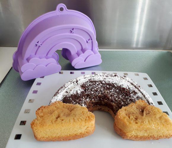 Marbré chocolat vanille – moule silicone arc en ciel