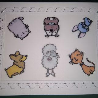carte d'anniversaire animaux avec papier calque