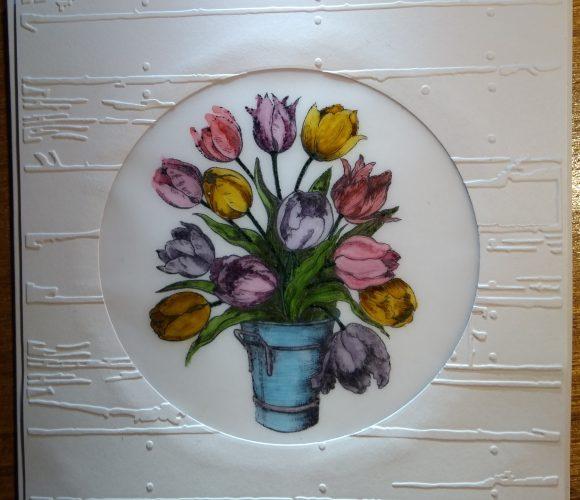 carte bouquet de fleur sur papier calque