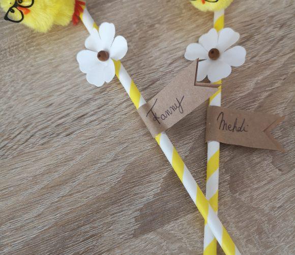 Pailles carton jaune