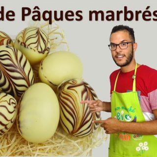 ŒUFS DE PÂQUES MARBRES EN CHOCOLAT