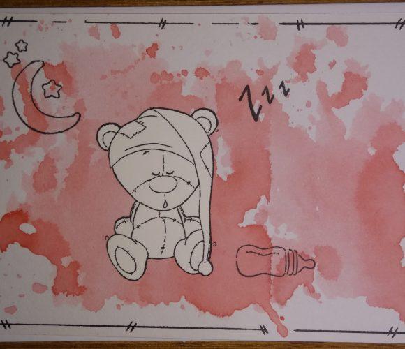 carte naissance ourson qui ronfle avec fond à l'ecre liquide