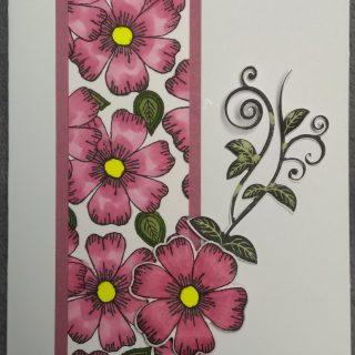 Carte d'anniversaire fleurs avec bordure rose et enveloppe cadeau