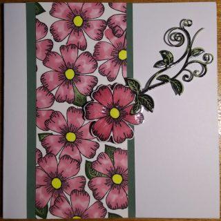 Carte fête des mères fleurs et bodure verte