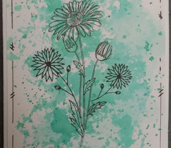 Carte de condoléances sur fond d'encre vert