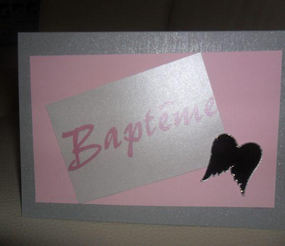 Fabrication faire part baptème thème ange gris et rose