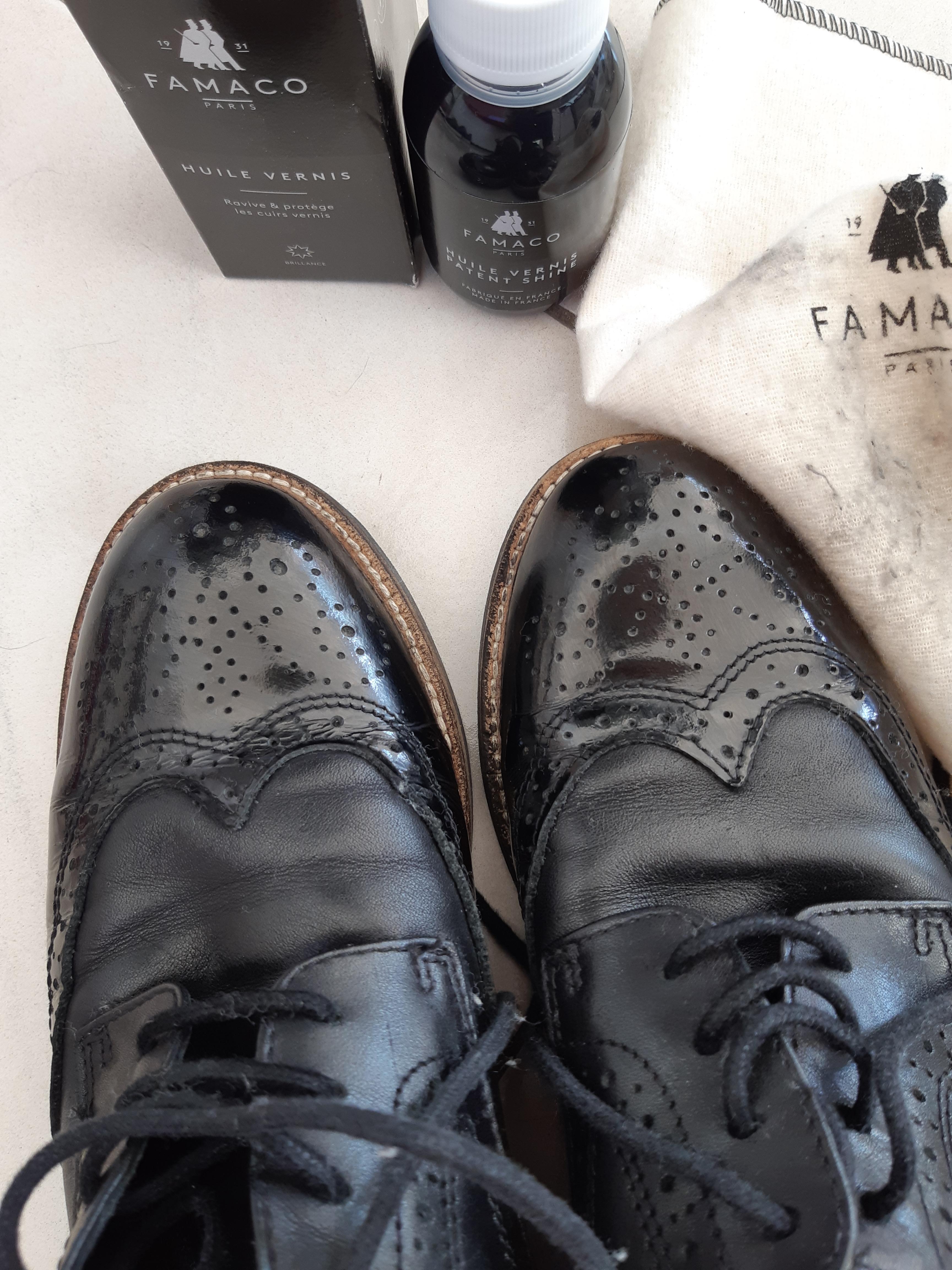 J'ai testé pour vous l'huile pour cuir vernis noir de chez Famaco