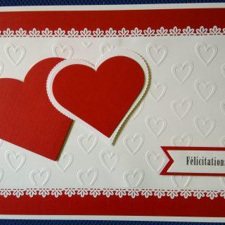 Carte félicitation mariage coeur rouge et blanche