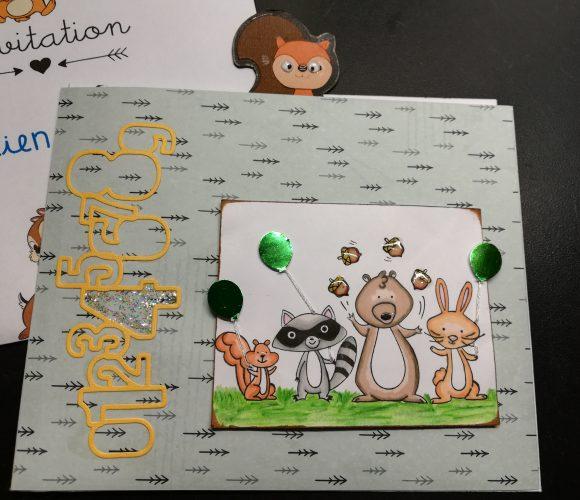 Carte d'invitation anniversaire 4 ans