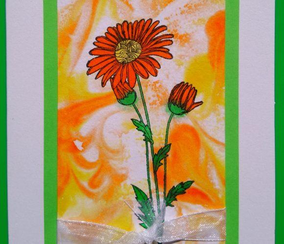 Carte encres fleurs